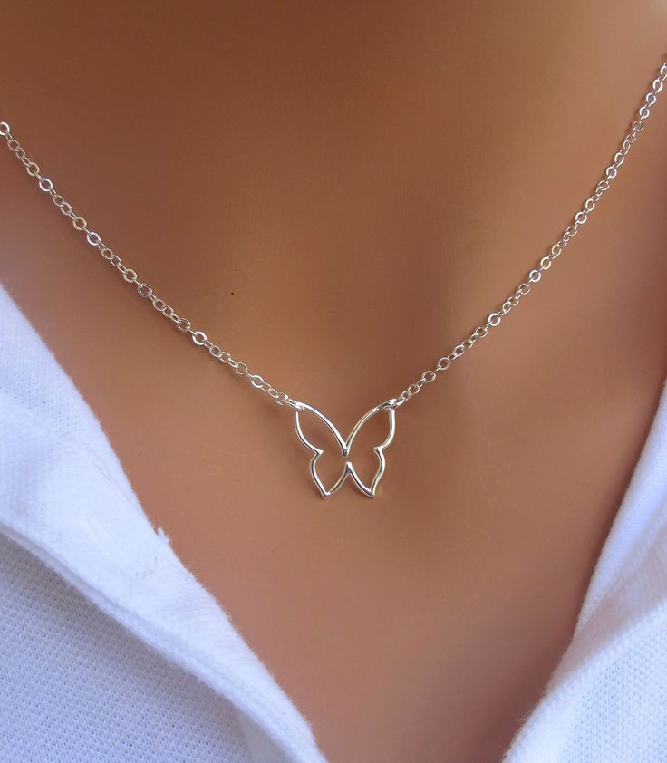 FALL SALE Butterfly Necklace in STERLING Silver. by RoyalGoldGifts, $21.85