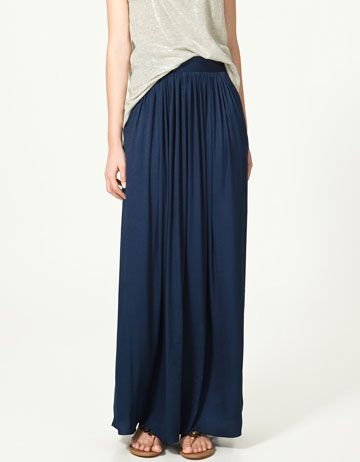 Zara: navy maxi skirt $89.90