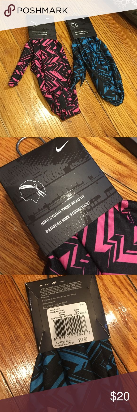 Nike Headband Bundle Price is for BOTH!! One pink & black and one blue & black Nike Studio Twist Head Tie Bandeau Nike Studio Twist. Ties in the back Nike Accessories Hair Accessories