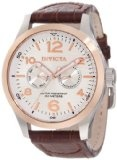 Invicta Men's 13010 I-Force Silver Textured Dial Brown Leather Watch