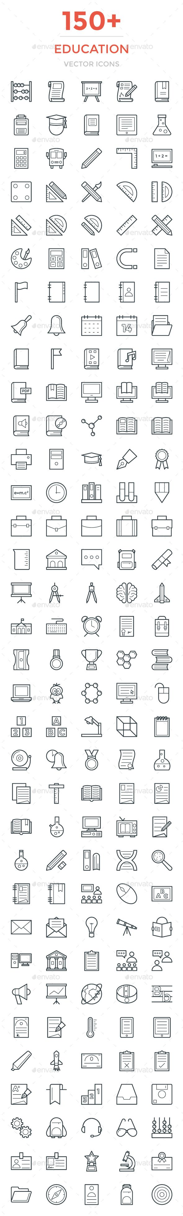 150+ Education Vector Icons. Download here: https://graphicriver.net/item/150-education-vector-icons/17057443?ref=ksioks