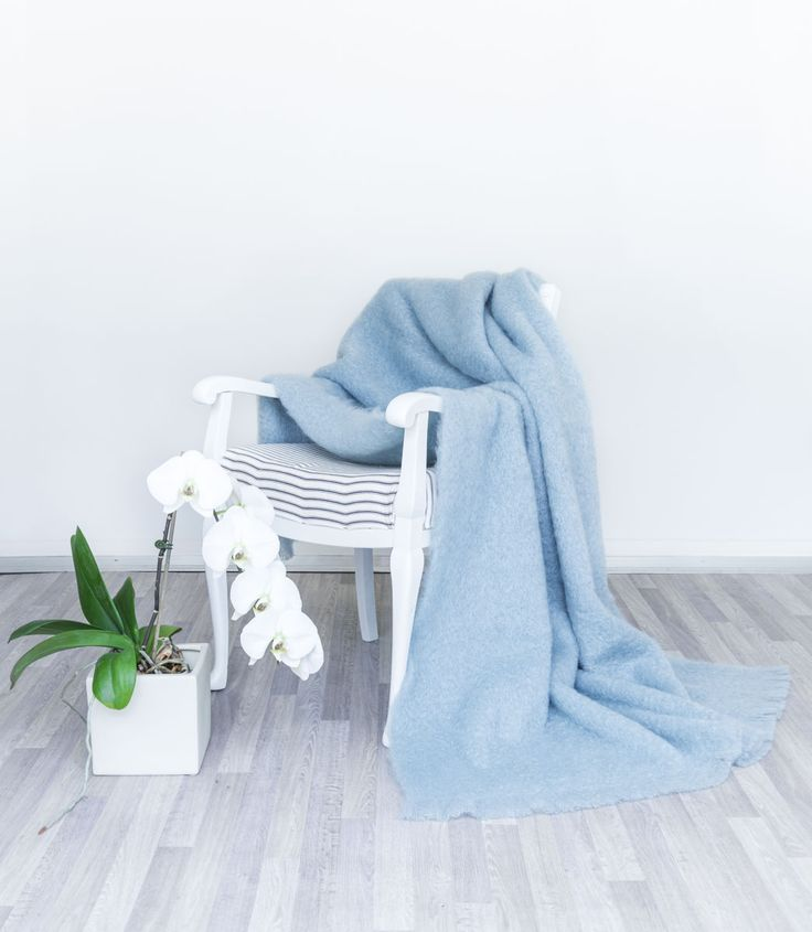 This lovely pale blue mohair throw is one of the best selling colours.Similar to a duck egg blue.
