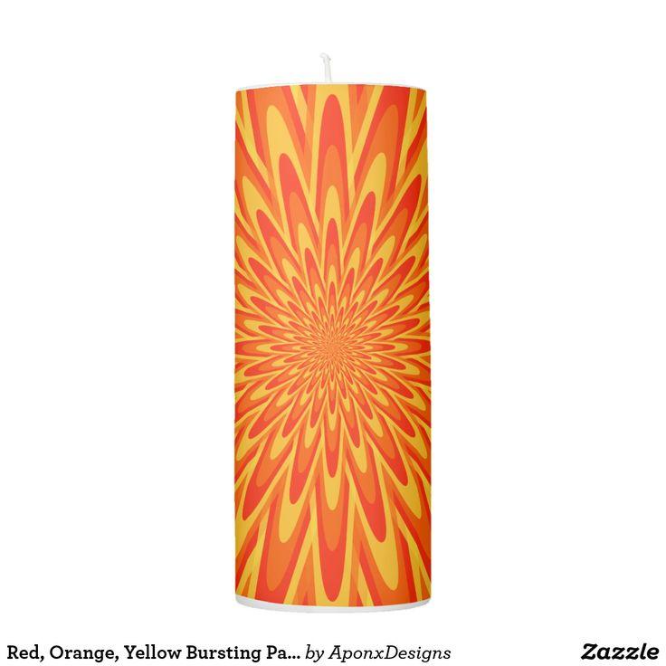 Red, Orange, Yellow Bursting Pattern Candle