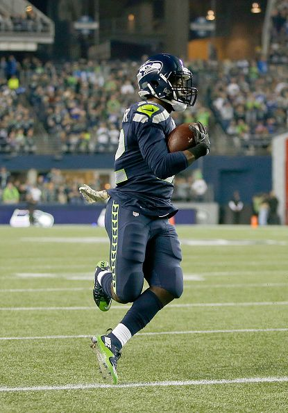 Running back Christine Michael of the Seattle Seahawks rushes for a touchdown against the Buffalo Bills at CenturyLink Field on November 7 2016 in...
