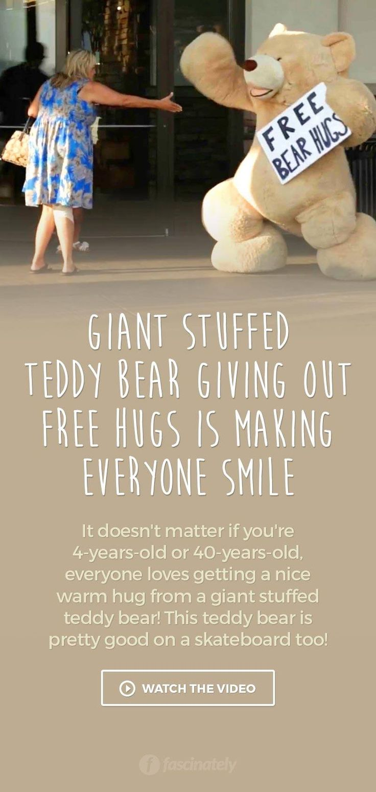Giant Stuffed Teddy Bear Giving Out Free Hugs is Making Everyone Smile