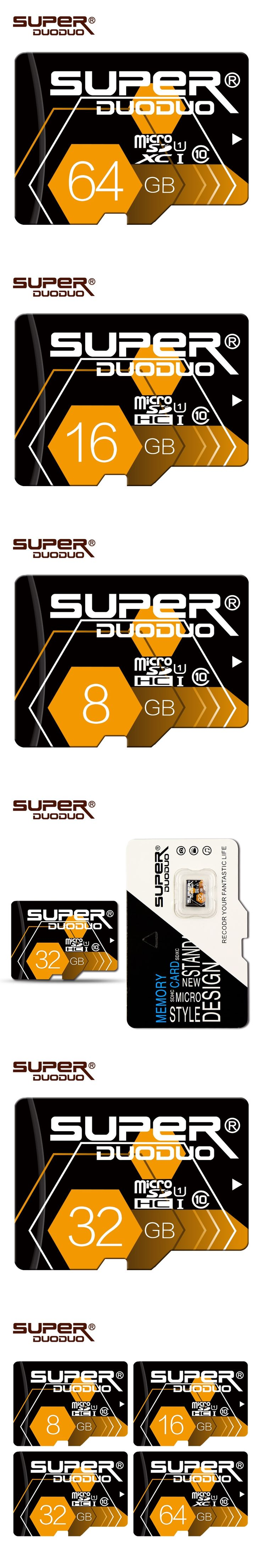 Suoerduoduo Real capacity microsd 128GB 64GB 32GB 16GB 8GB 4GB mini memory Card micro sd card TF card  with retail package