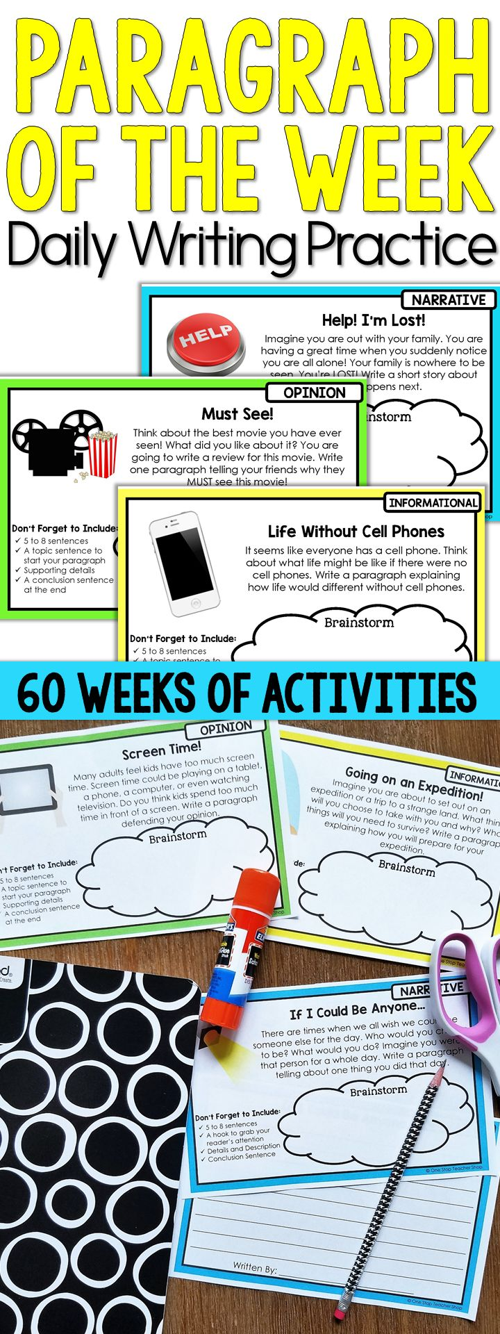 Editable Paragraph of the Week for daily paragraph writing practice! 60 writing prompt activities that make writing fun! Includes rubrics, drafting pages, revising and editing checklists, and tons of high-interest writing prompts.