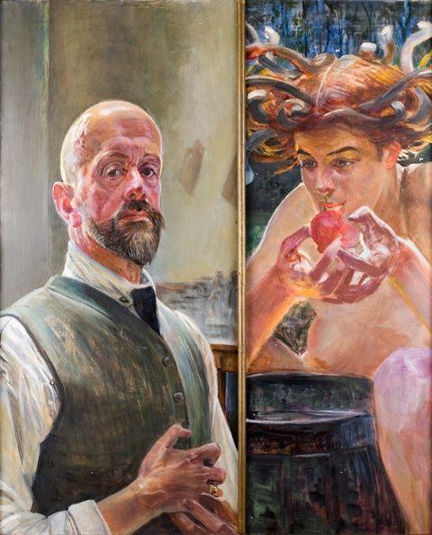 Jacek Malczewski (1854-1929, Polish) 'Autoportret z Meduzą' Poland