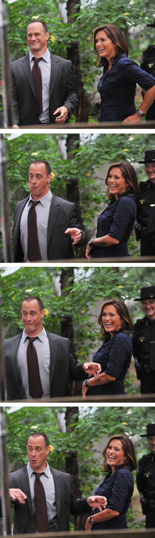 CHRISTOPHER MELONI & MARISKA HARGITAY (Goofing around on the set of Law & Order: SVU)