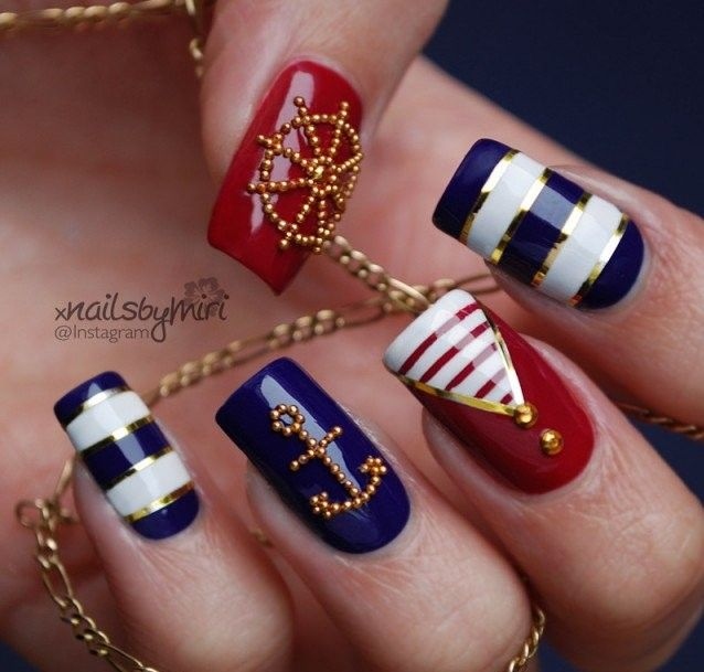 Sequined Nautical Nail Art
