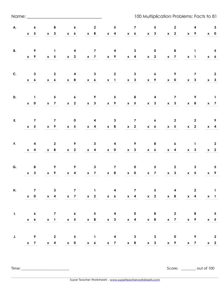 25 best ideas about Printable multiplication worksheets on – Timed Multiplication Worksheets