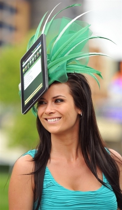 A Racegoer Wears Homemade Ipad Hat On The Second Day Of Annual Royal Ascot