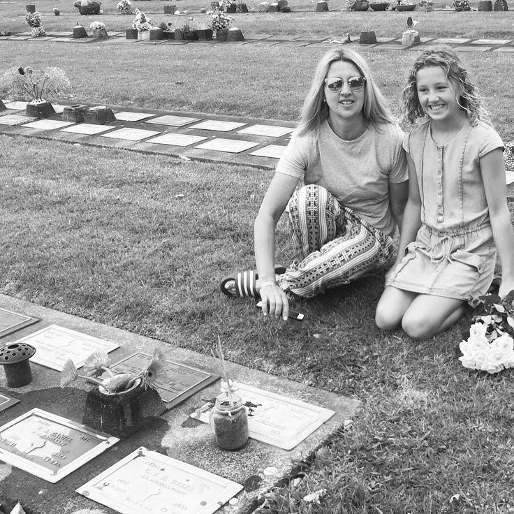 Liz and Charlotte graveside 2016