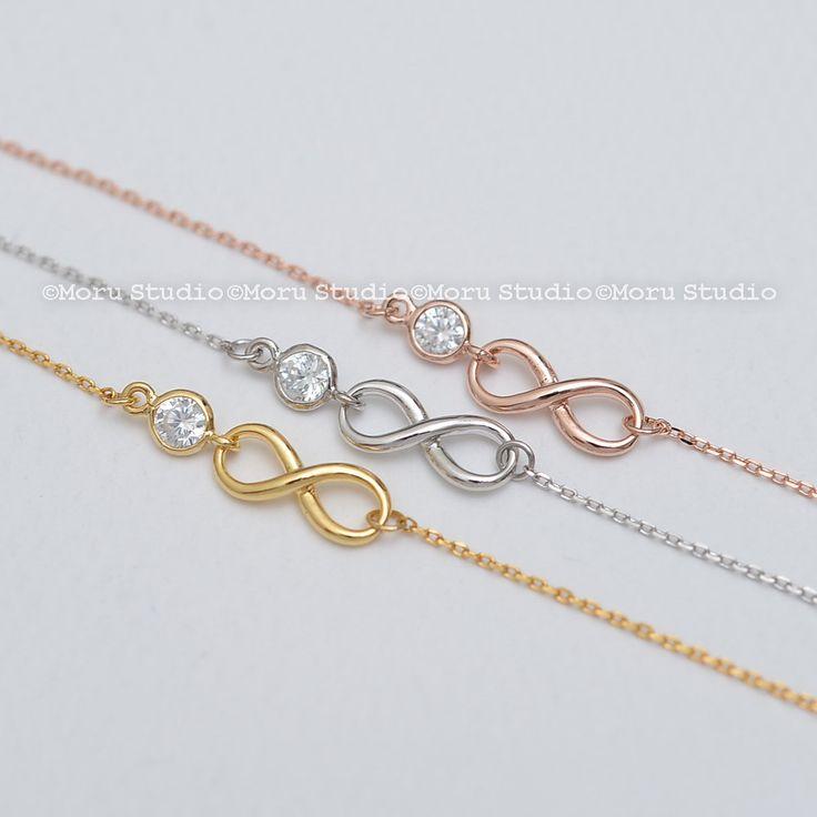 Rose Gold Infinity Bracelet, Bridesmaids Gift, Crystal Bracelet, Bridesmaid Bracelet, Infinity CZ Bracelet, Friendship Bracelet BIF050 by MoruStudio on Etsy #RoseGold #InfinityBracelet #BridesmaidBracelet #wedding
