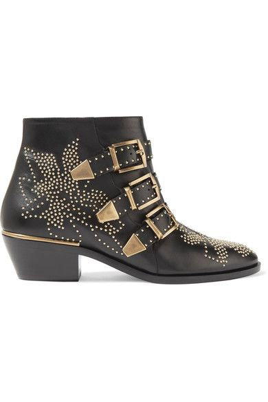Chloé - Susanna Studded Leather Ankle Boots - Black - IT38.5