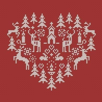 Christmas heart. Instant Download PDF Cross Stitch by PatternBird