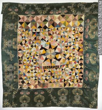 M972.3.1 |  | Quilt | Quilt 1726, 18th century Fibre: silk, cotton, linen; Pieced (hand), sewn (hand) 208 cm Gift of Mrs. Albert Ayer M972.3.1 © McCord Museum This outstanding quilt is now the second-oldest silk patchwork quilt known to exist in the Western world. Made of multi-coloured pieces of silk, velvet, linen and cotton, the bedcover bears the appliquéd date of 1726 and the initials IN. Research into the age of the fabrics and the overall construction of the bedcover has revealed the…