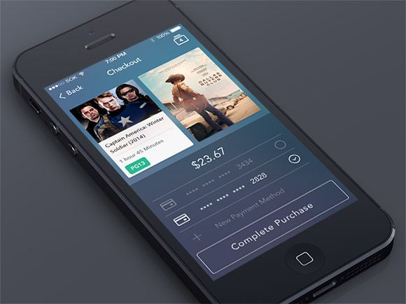 Awesome Checkout screen app PSD. Here's a checkout screen for an iOS7 style app. Free PSD designed and released by Simeon K.. #app #application #blue #buy #checkout #dark #ecommerce #flat #gui #interface #ios #movie #simple #sleek #ui Check more at http://psdfinder.com/free-psd/checkout-screen-app-psd
