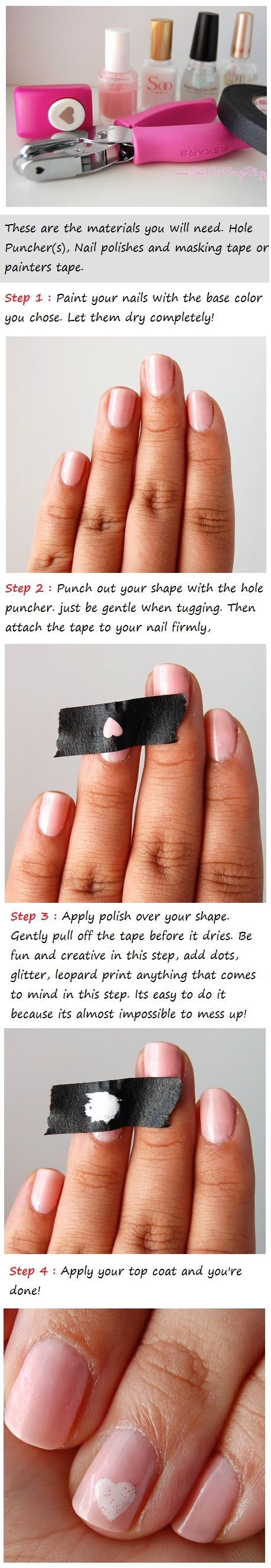 a heart on your Nails | Beauty Tutorials: Beauty Tutorials, Heart Nails, Idea, Nails Art, Nails Design, Holepunch, Nails Polish, Hole Punch, Nails Tutorials