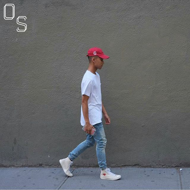 #OutfitSociety via @introfashion Presents @myronclemente red white and blue like the US:  Antisocial Social Club Hat Kaws x Uniqlo Tee Zara Denim Jeans and  Comme Des Garçons x Converse Shoes