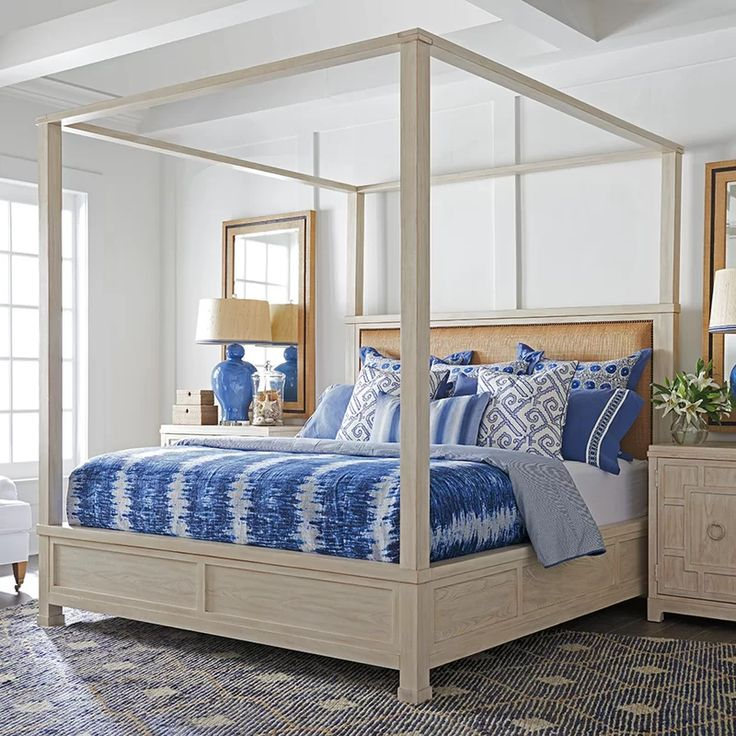 Newport Upholstered Canopy Bed Queen canopy bed, Canopy