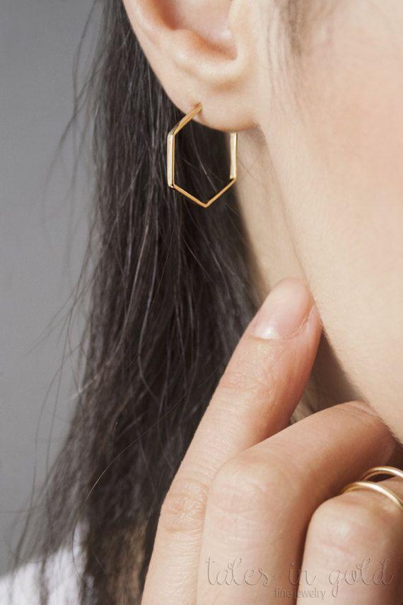 Hoop Earrings Geometric Earrings Gold Earrings 14 by TalesInGold