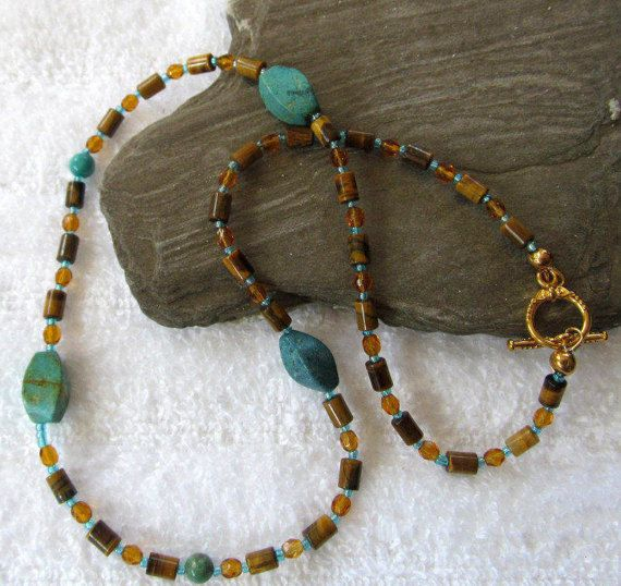 Western Style Is a Great Start To Your Vacation! Turquoise And Tiger Eye Bead Necklace  by #BranchPondJewelry
