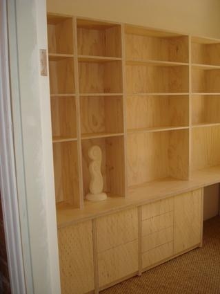 Plywood joinery with lime wash finish