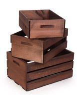 Wooden Crate Dump Bins, Set of 3, Nesting – Dark Brown