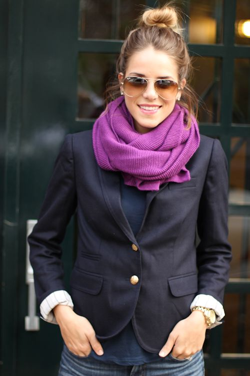 purple + navy: Fashion, Navy Blazers, Fall Style, Color Combos, Infinity Scarfs, Outfit, Jackets, The Navy, Tops Knot