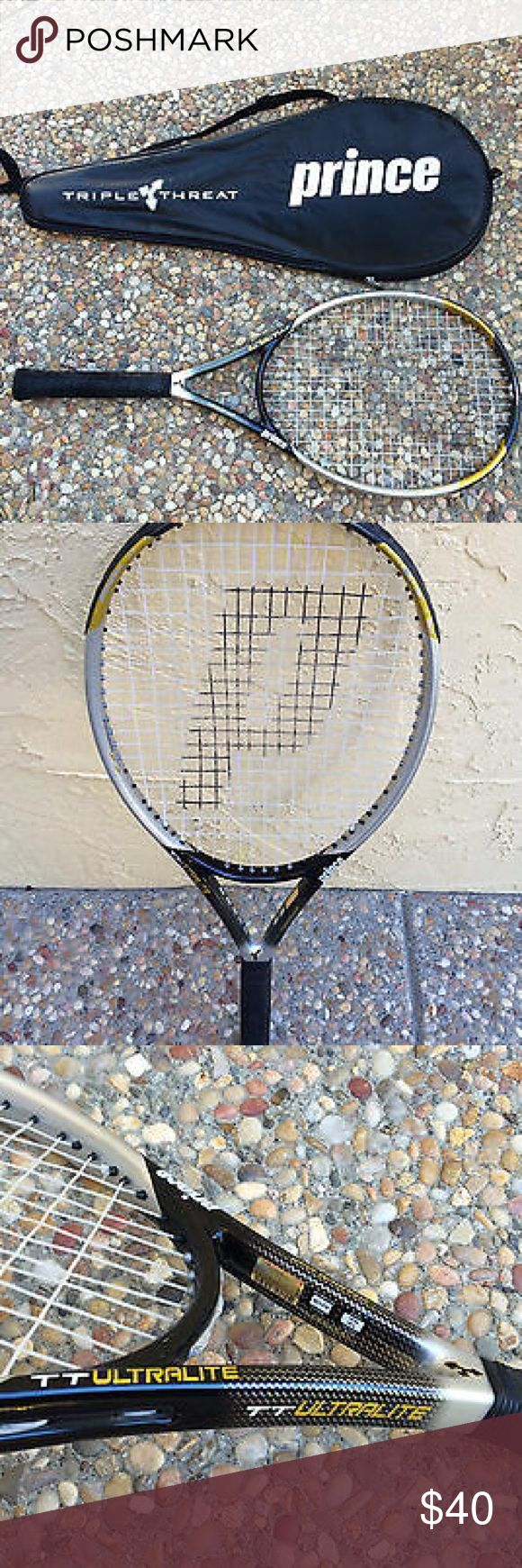 Prince triple threat ultra light tennis racquet Used once. Good condition. Ultra light, titanium shaft, expansion system, oversize. Needs the wrap on handle to be tightened. prince Other