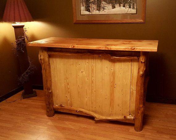 Cherry Log wood bar handmade furniture man cave primitive by Lovelyprimitivewoods