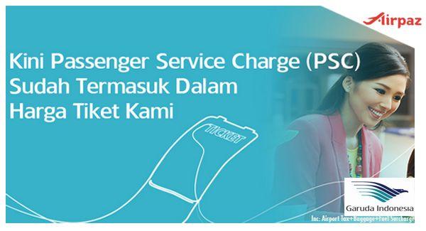Mulai Maret 2015 Tiket Pesawat Garuda Indonesia sudah Termasuk Airport Tax Lohh http://blog.airpaz.com/id/maret-2015-tiket-pesawat-garuda-indonesia-sudah-termasuk-airport-tax/  Ticket Price of Garuda Indonesia Include Passenger Service Charge (PSC) on March 2015 http://blog.airpaz.com/en/ticket-price-garuda-indonesia-include-passenger-service-charge-psc-march-2015/