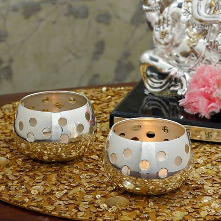 "#DiwaliDecor #FabFurnish Beautiful candle stands for this diwali from fabfurnish ""Moonlight Two Candle Holders With Candles"""