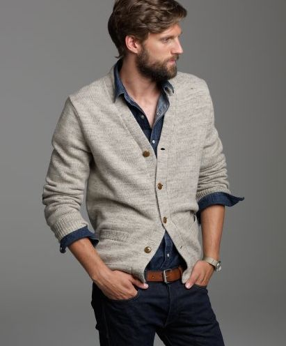 Tan cardigan with dark blue shirt