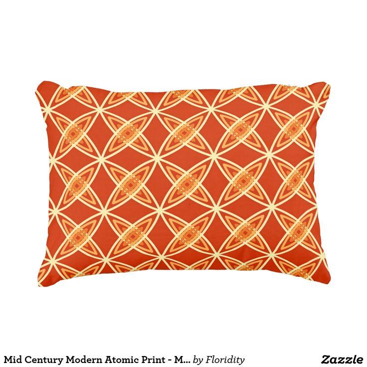 Mid Century Modern Atomic Print - Mandarin Orange Accent Pillow
