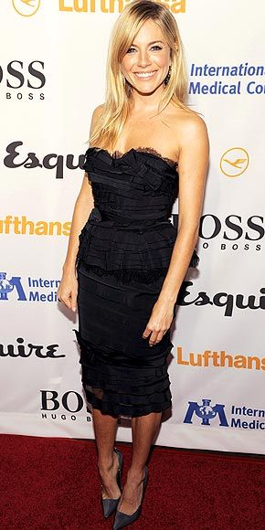 Sienna Miller wowed us in this black bustier dress on 15 October 2010 in  LA.