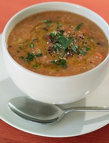 Mixed bean and farro soup
