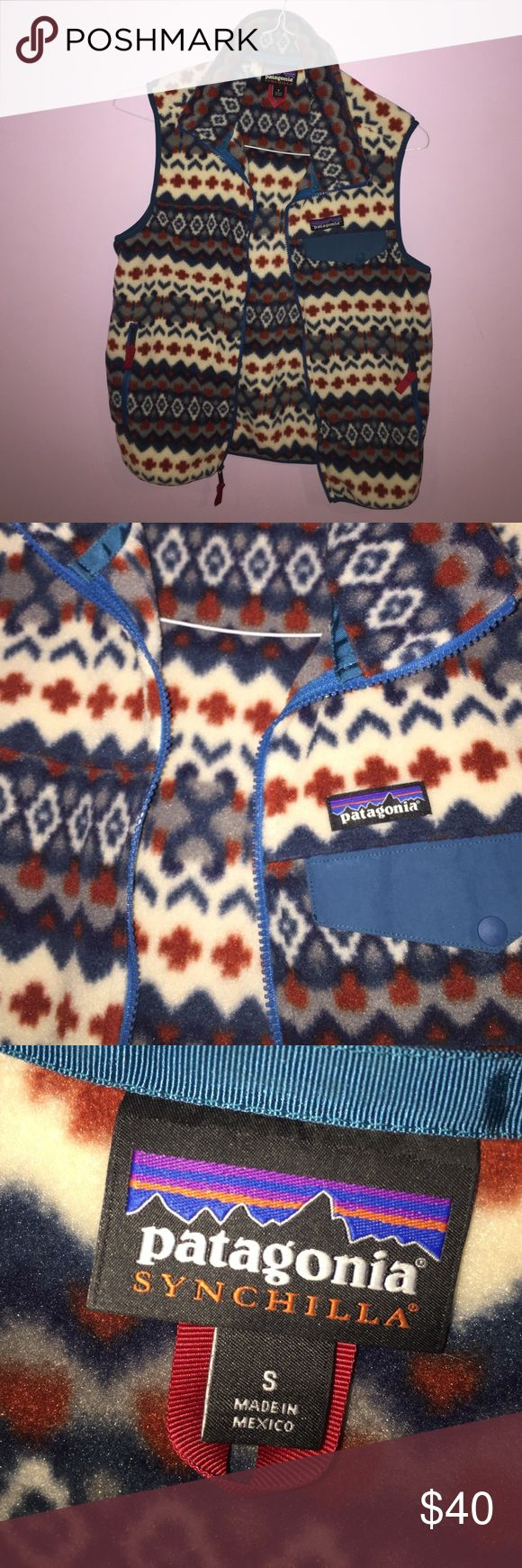Patterned Patagonia vest Men's Patagonia vest, super cute pattern perfect for the holidays. Size Small in men's. Zippered and has a pocket. Never worn and in perfect condition! Patagonia Jackets & Coats Vests