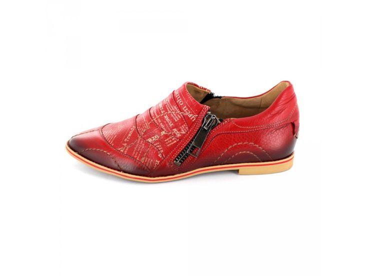 Maciejka - Flacher Slipper aus rotem Leder mit markanten Steppnähten