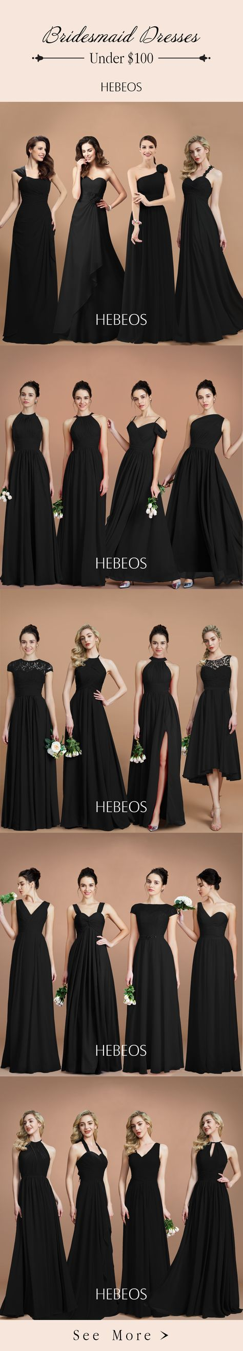 Black Bridesmaid Dresses. Bridesmaid dresses in your perfect wedding colors! Beautiful fabrics and nearly 200 color options let you mix and match bridesmaid styles from all HEBEOS collections. Buy your cheap bridesmaid dresses in hebeos.com #bridesmaiddresses #mixmatch