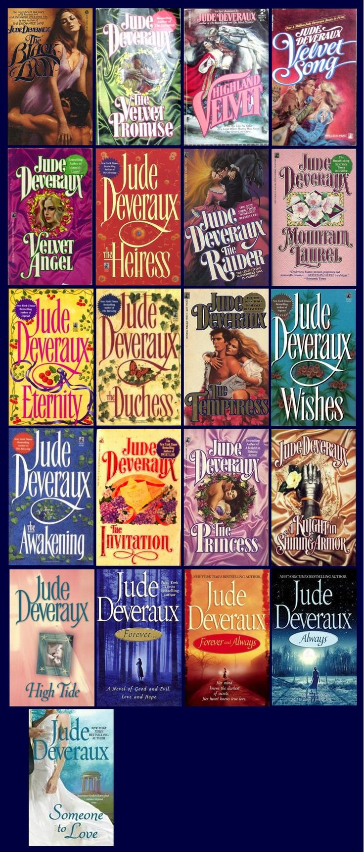 The Montgomery Series by Jude Deveraux  Best romance novels! I love everything she writes but I LOVE the Montgomery's!