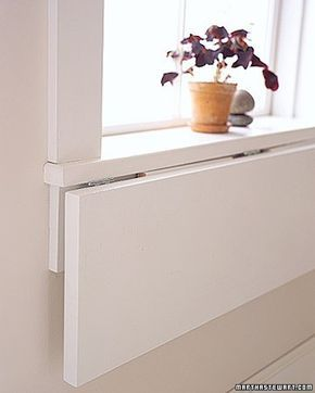 Extend a WindowsillSelect plywood the same thickness as sill; cut it as wide as sill and 12 inches deep. Attach bottom of shelf to bottom of sill with 3 hinges: 1 at the center, the others near the sides.Cut 2 right triangles from wood thin enough to lie flat beneath folded shelf; trim tips. Brackets should extend 3/4 of the way across shelf and 3/4 down apron. Hinge brackets to apron. Paint before installing.Convert a CabinetUse a square space, at least 14 by 14, deep enough to hold…