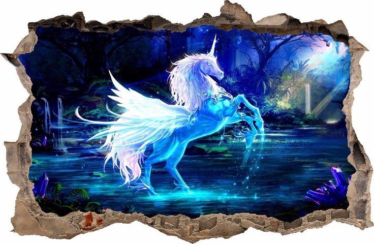 WANDAUFKLEBER Loch in der Wand 3D Einhorn Pegasus Dekor Aufkleber Wandtattoo 45 | eBay