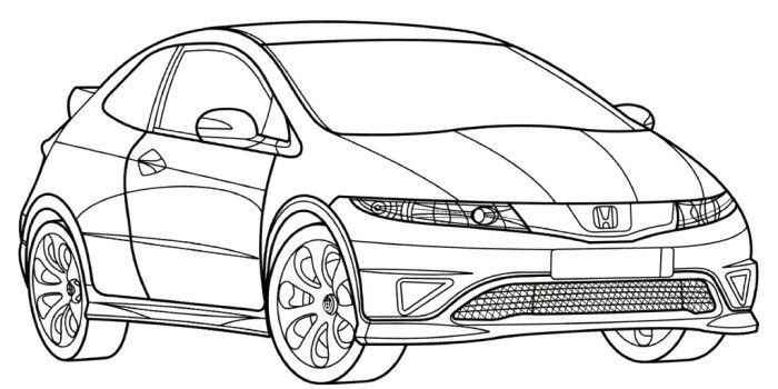 honda civic type r coloring page stuff