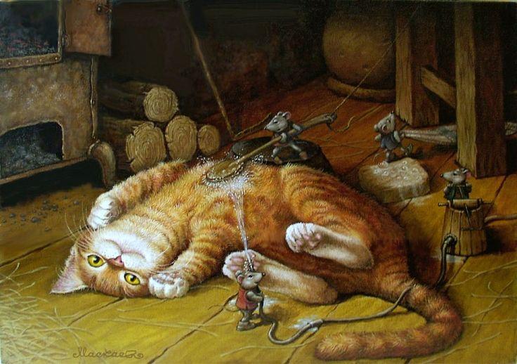 Маскаев_Сказочные коты_Купание красного кота