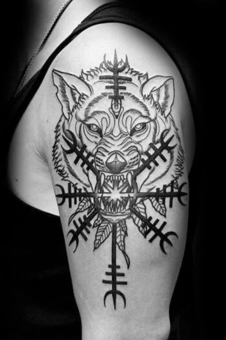 40 Helm Of Awe Tattoo Designs For Men - Norse Mythology Ideas