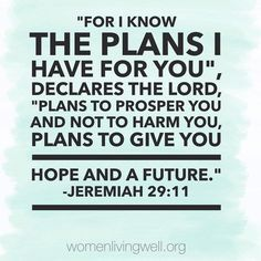 """For I know the pans I have for you"", declares the Lord, ""plans to prosper you and not to harm you, plans to give you hope and a future"". Jeremiah 29:11"