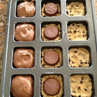 WOW!! Made these last night for a cooking party!  Thank you. Pinned via Korie Parks: Preheat your oven to 350 degrees.  Spray the insides of a square all edges brownie pan with Pam spray.   Scoop out a heaping tablespoon of premade cookie dough and press into the bottom of each square.  Top the cookie dough with a Reeses Peanut Butter Cup placed upside down.  Then fill up the well with your favorite prepared brownie mix up to 3/4 full.   Bake in oven for 15-18 minutes.  Remove and cool slightly.: Cookies Dough, Place Ree, Chocolates Chips, Squares, Boxes Brownies, Cookie Dough, Cups Brownies, Ovens, Peanut Butter Cups