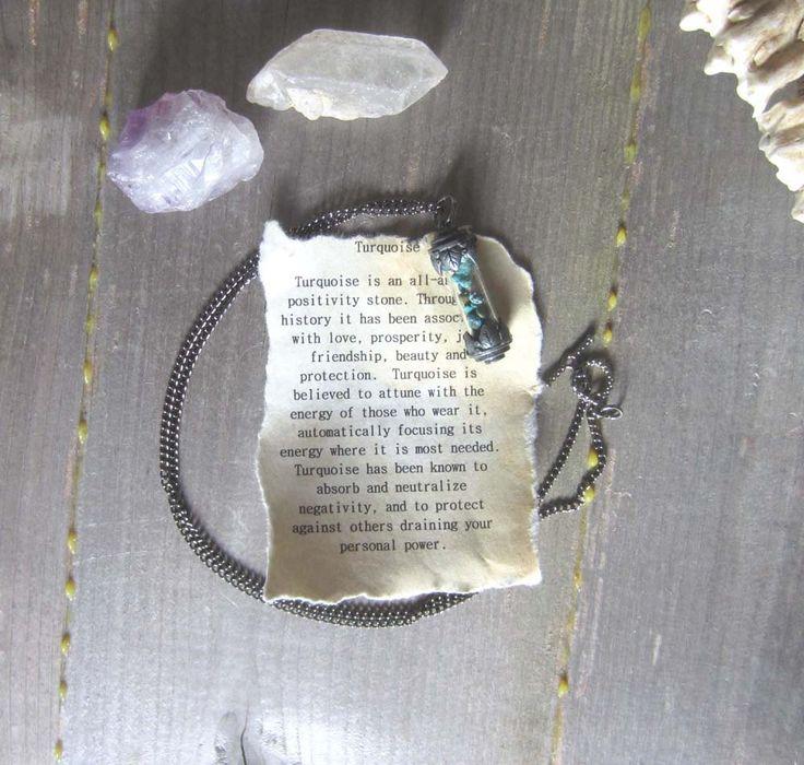 Turkoois ketting amulet flacon hanger wicca door WhiteMoonWitchcraft